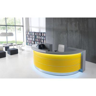 Empfangstheke Hochglanz Design - gelb